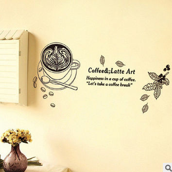 The new wall adornment to be able to remove the cafe coffee cup wall stickers stickers household adornment wall stickers SM6