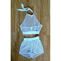 Fashion Summer Trends Black and White Shorts See Through Outfit Two Piece Set Mesh Top Crop Tops Sporty