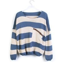 Blue White Striped Bat Long Sleeve Sweater