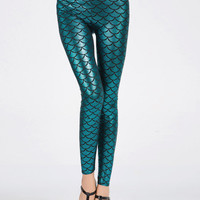 Blue Fish Scale Leggings