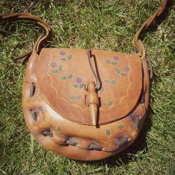 amazing 70s tooled leather FLORAL satchel vintage 1970s handcrafted painted crossbody bag hippie boho leather purse braided strap handbag