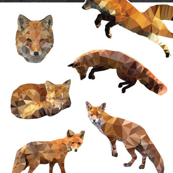 Instant Download Digital Clipart Foxes | 6 Vector Graphics | PNG, PSD, AI
