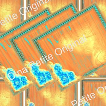 Printable Rustic Gold Tags / Ready To Download / Instant Art / Blue Roses / Colorful Tags / Scrapbook Art / Green And Gold Art / Decoupage