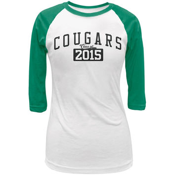 Graduation - Cougars Class of 2015 White/Kelly Green Juniors 3/4 Raglan T-Shirt