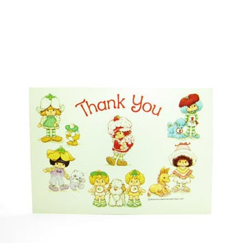 Thank You Postcard Strawberry Shortcake Vintage Card with International Friends Mint Tulip, Almond Tea, Lem N Ada, Cafe Ole, Crepe Suzette