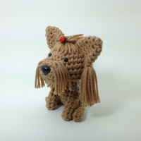 SALE / Yorkie Stuffed Animal Yorkshire Terrier Amigurumi Dog Crochet Dog Silver and Tan  / Made to Order