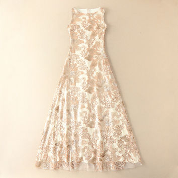'Little Golden Flower' Sequins Maxi Floor Length Dress
