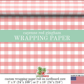 Red Cayenne Gingham Wrapping Paper | Custom Red Gingham Plaid Gift Wrap Matte Finish Available In 2 Sizes For Any Occasion. Made In The USA