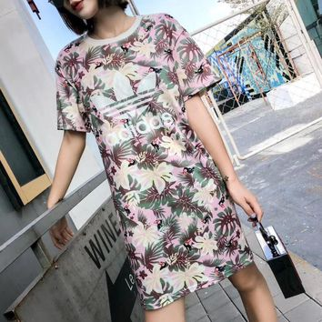 """Adidas"" Fashion Casual Temperament Flower Letter Print Short Sleeve Middle Long Section T-shirt Mini Dress"