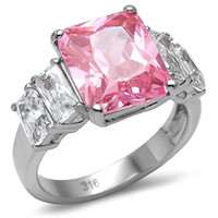 Pink Tourmaline & Clear 5 Stone CZ Stainless Steel Engagement Ring