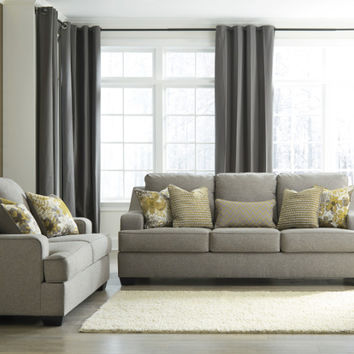 2 pc Mandee collection pewter fabric upholstered sofa and love seat set with squared arms