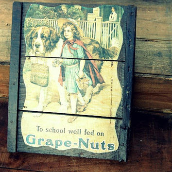 Vintage Picture on Handmade Wood Frame, Advertising