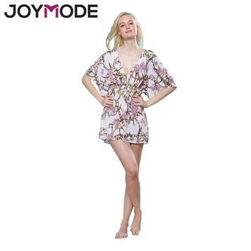 JOYMODE Women Floral Print Pink Kaftan Swimwear Chiffer Swimsuit Swim Wear Beach Lady Cover Up saida de praia Floral Cover-up-E