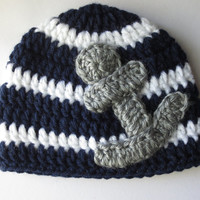 Crochet Nautical Hat, Crochet Anchor Hat, Crochet Sailor Hat, Nautical Crochet Hat, Anchor Crochet, Sailor Crochet Hat Baby Nautical Crochet