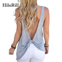 HiloRill Sexy Criss Cross Backless Tank Tops Women Casual Loose Basic Top 2017 Fashion Sleeveless T-Shirt Women Summer Tops Tee