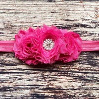 Fancy Dark Pink Rhinestone Headband