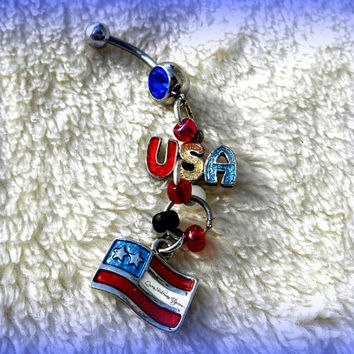 USA Flag and Belly Ring, Red, Beach Wear, Patriotic Jewelry, Direct Checkout, Ready to Ship, Body Wear