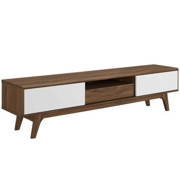 "Envision 70"" Media Console Wood TV Stand Walnut White EEI-3304-WAL-WHI"