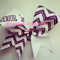 Maroon and white glitter senior'15 cheer bow with chevron and rhinestones.  Can be made in any color combination.