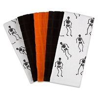 Skeleton and Solid Print 5-Pack Kitchen Towels