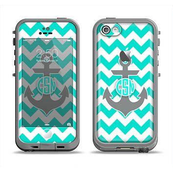 The Teal Green and Gray Monogram Anchor on Teal Chevron Apple iPhone 5c LifeProof Fre Case Skin Set