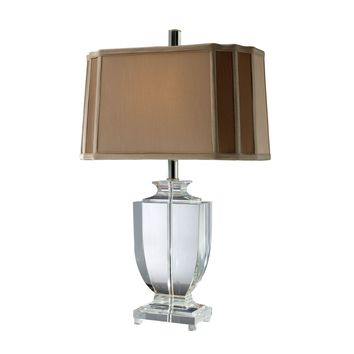 D1814 Layfette Table Lamp In Clear Crystal With Cream And Taupe Shade - Free Shipping!