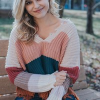 Color Block Fringe Sweater, Pink