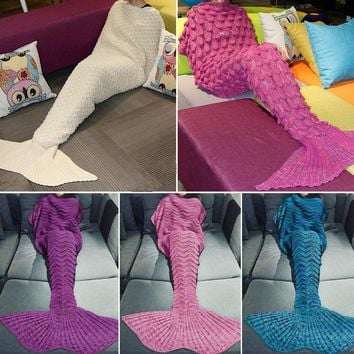 Adult Women Mens Soft Handmade Mermaid Tail Blanket Sleeping Bag Plush Air Conditioning Blanket