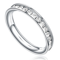 Stainless Steel 3mm Eternity Ring W. Clear Cubic Zirconia