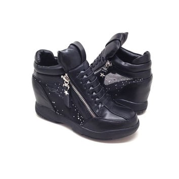 Black Vegan Leather Wedge Sneaker with Mesh Detail and Zippers