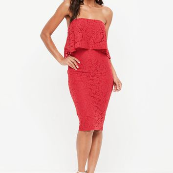 Missguided - Red Lace Bandeau Frill Midi Dress