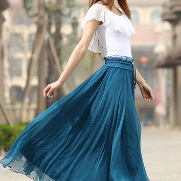 Blue skirt woman chiffon skirt custom made long skirt elastic waist maxi skirt (943)