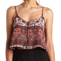 ZIP-UP PAISLEY PRINT CROP TOP