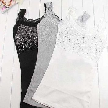 PEAPHY3 Z101'Girl Women's Rhinestone Sequin Lace Tank Top Sling Camisole Cami Shirt Vest Slim