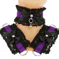 Kitten play collar and cuffs black purple, lolita, ddlg, bdsm collar, kittenplay, pastel gothic, goth kawaii, Pet play, puppy Princess C6
