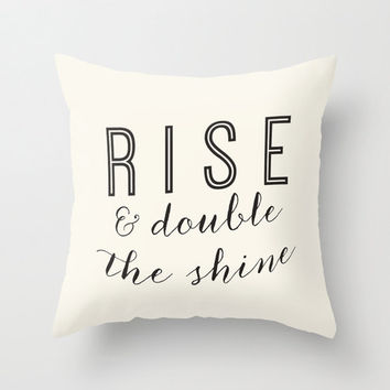 Rise & Shine Home Decor Throw Pillow Cover, Inspirational Quote Typography Calligraphy Decorative Pillow Cover Text Pillow