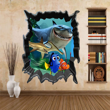 Cartoon Finding Nemo Sea Fish 3D View Art Wall Stickers Decals Mural Home Decor