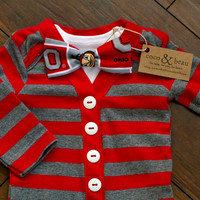 Baby Boy OSU Red/Gray Striped Cardigan Bodysuit by cocoandbeau