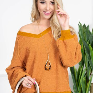 Yam Orange Knit Sweater