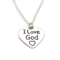 I Love God Necklace, Christian Necklace, Charm Jewelry, Faith Charm, Silver Jewelry, Jewelry Gift, Gift Under 10, Religious Jewelry