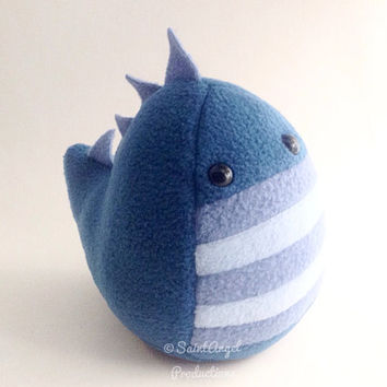 Plush Stuffed Dinosaur Handmade in Blues with Spikes, READY TO SHIP
