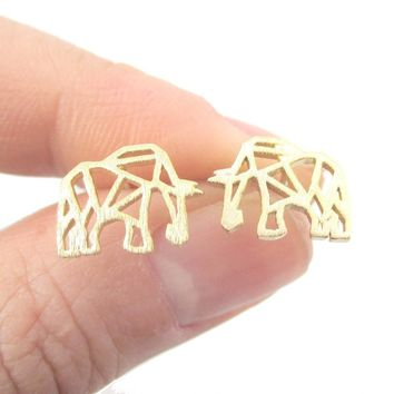 Elephant Outline Cut Out Shaped Stud Earrings in Gold | Allergy Free