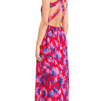 Lovers + Friends Kitty Cat Maxi Dress in Red