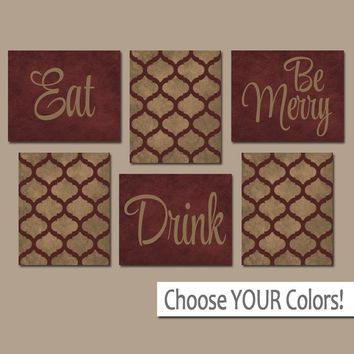 EAT DRINK be Merry Wall Art, CANVAS or Prints, Kitchen Decor, Dining Room Pictures, Trellis Pattern, Red Tan Home Decor Set of 6 Wall Decor