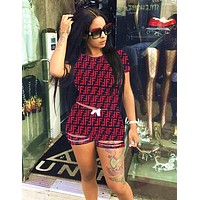 FENDI Newest Fashionable Women Casual Short Sleeve Top Shorts Two-Piece Red