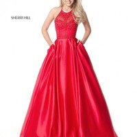 Sherri Hill 51395 Halter Gown with Beading and Pockets