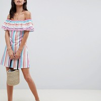 Boohoo Bardot Rainbow Stripe Dress at asos.com