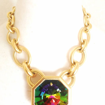 MINT. Vintage Yves Saint Laurent golden chain statement necklace with extra large octagonal pyramid Swarovski crystal pendant top.