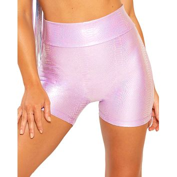 Holographic Python High Waist Biker Shorts