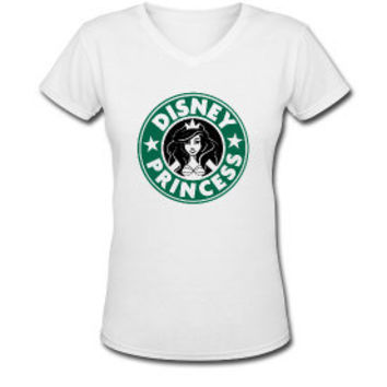 Starbucks Disney Princess Women's Vneck Tshirt by TheScarletFoxx